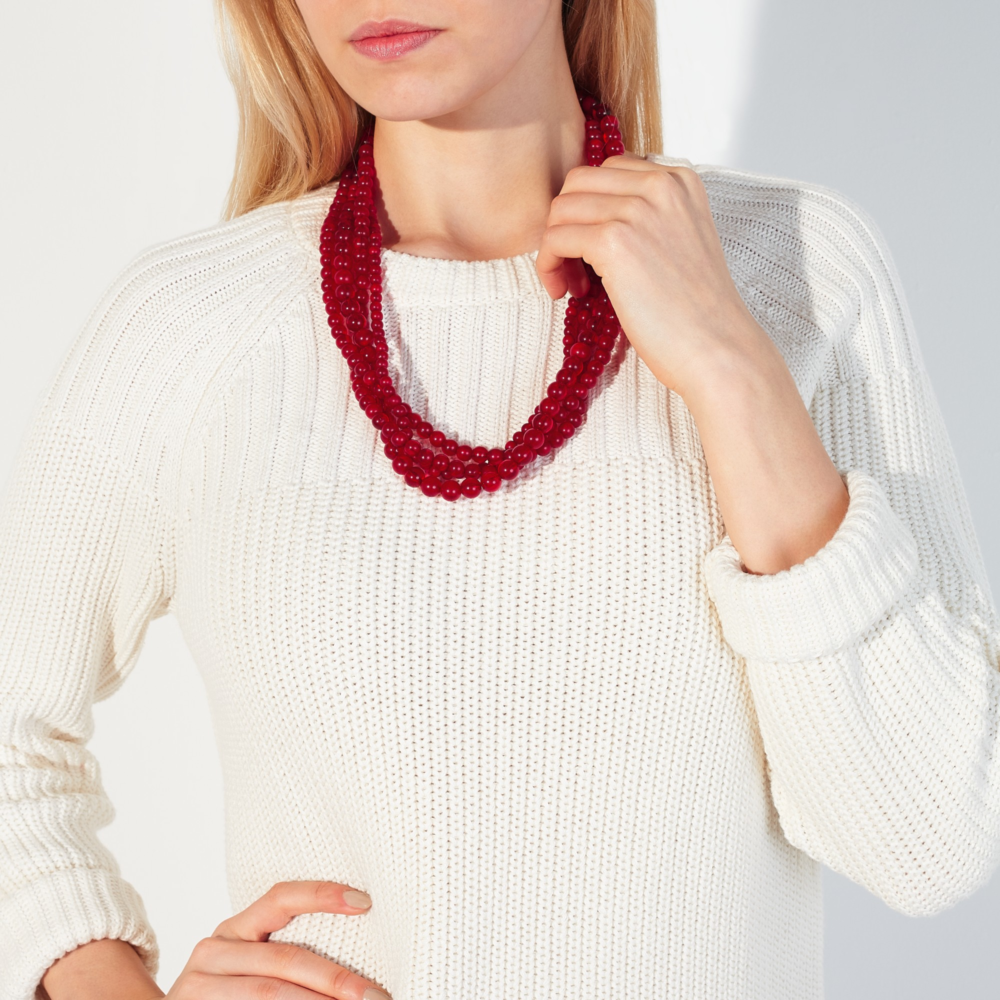 John Lewis Twisted Round Bead Necklace in Berry (Red)