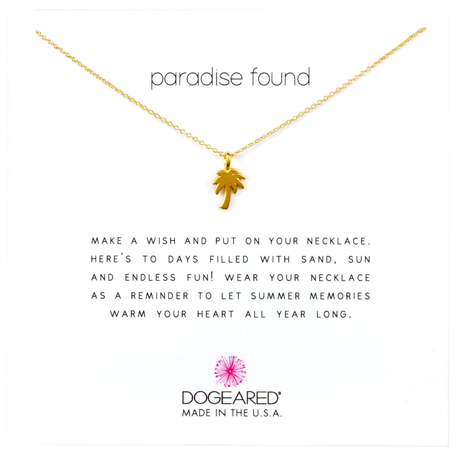 Dogeared Mini Palm Tree Chain Necklace in Gold (Metallic)
