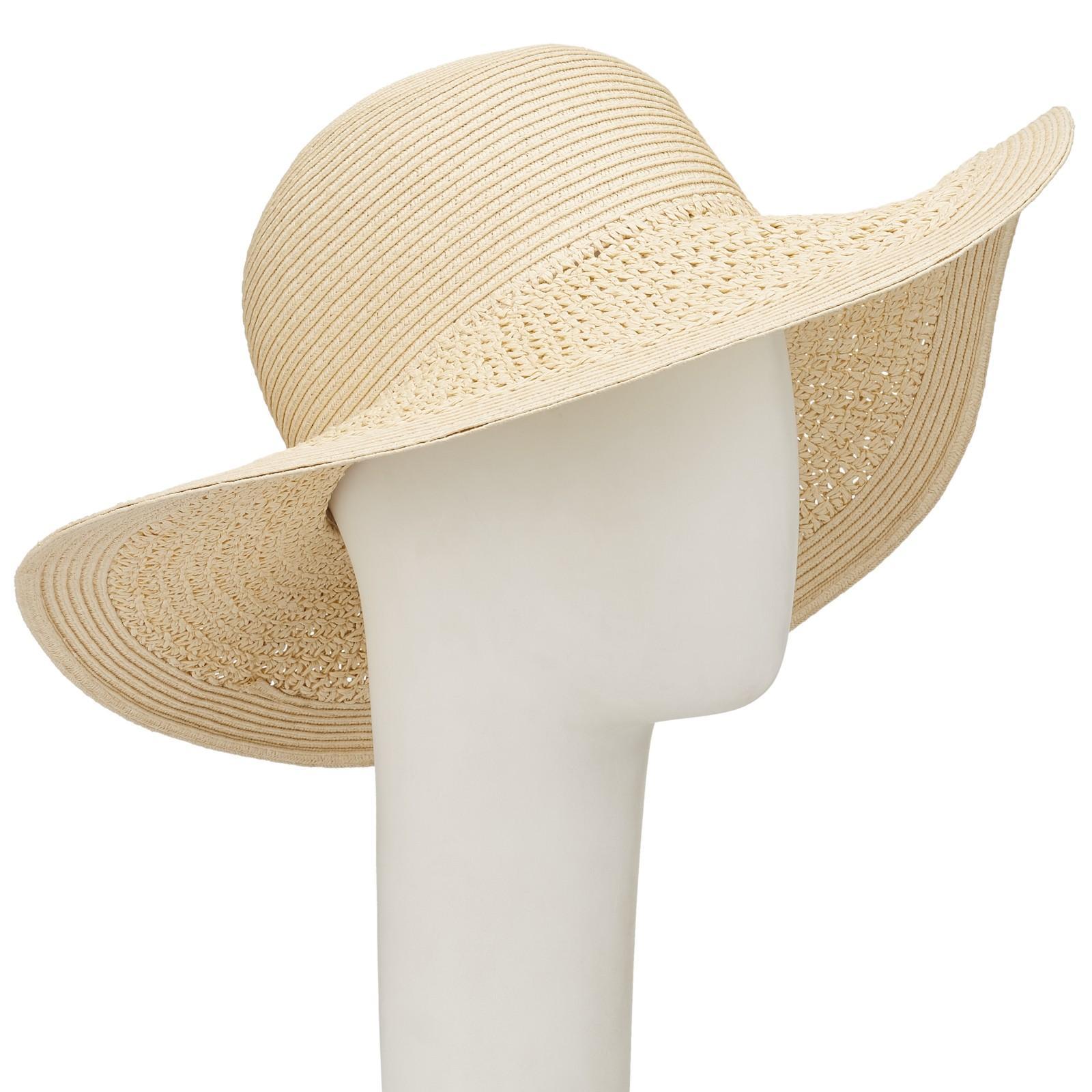 1e8cef517d2 John Lewis Packable Weave Mix Floppy Sun Hat in Natural - Lyst