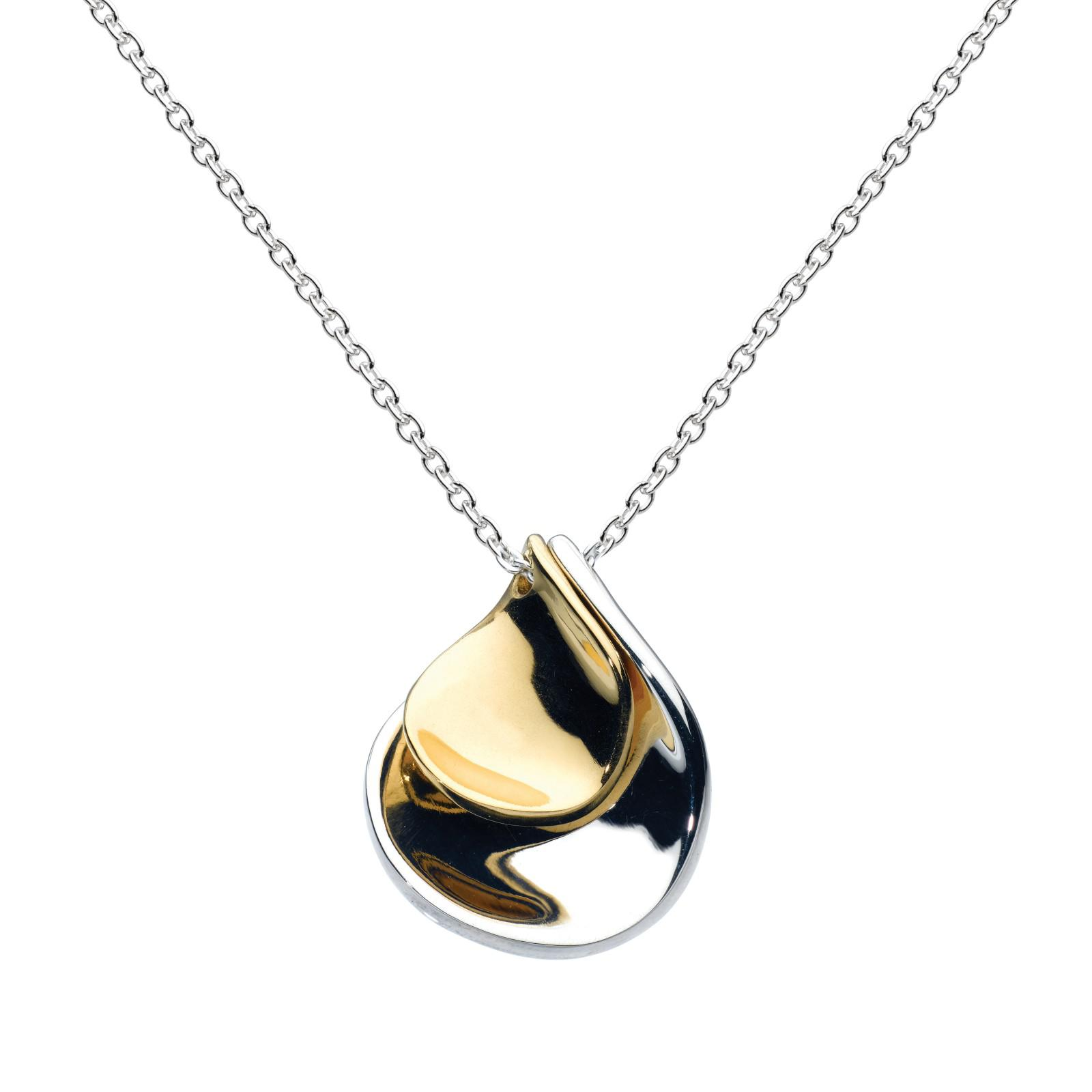 Kit Heath Double Petal Sterling Silver 18ct Gold Plated Pendant in Metallic