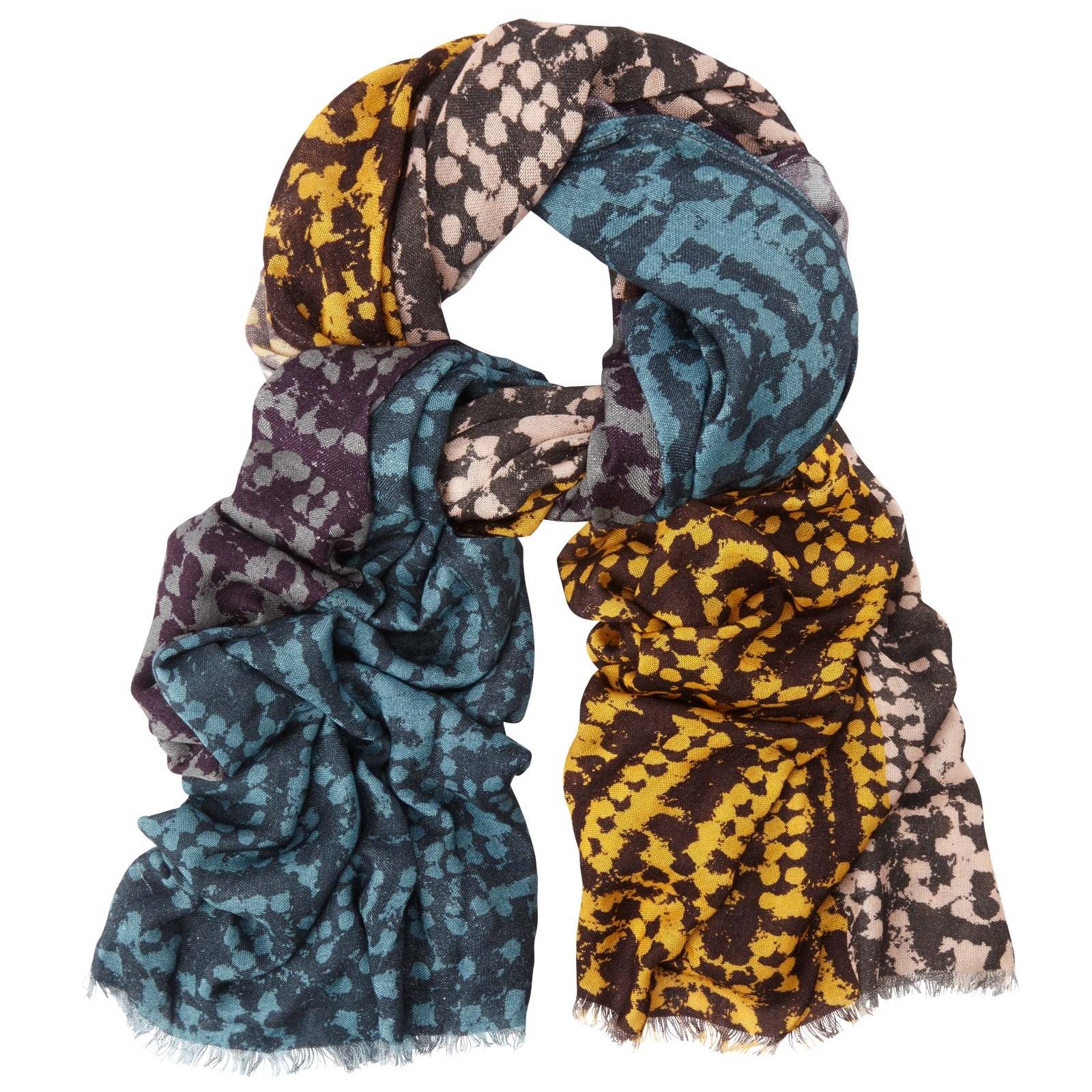 lewis colour block abstract print scarf in blue lyst