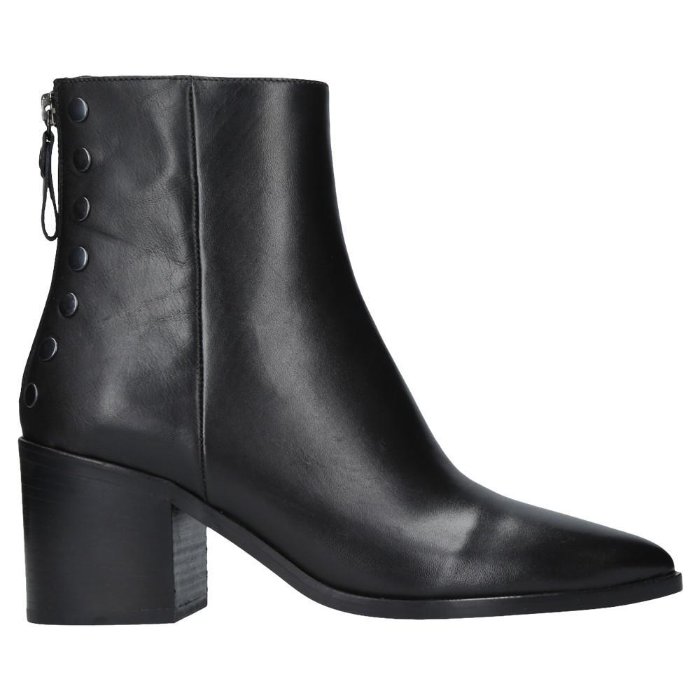 Carvela Kurt Geiger Denim Slight Block Heeled Ankle Boots in Black Leather (Black)