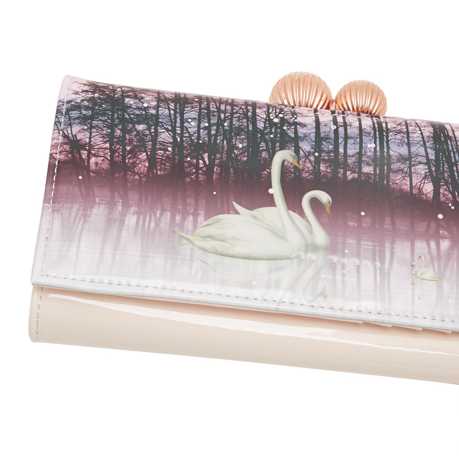 e85102fad Ted Baker Swanee Leather Sparkling Swan Print Matinee Purse - Lyst