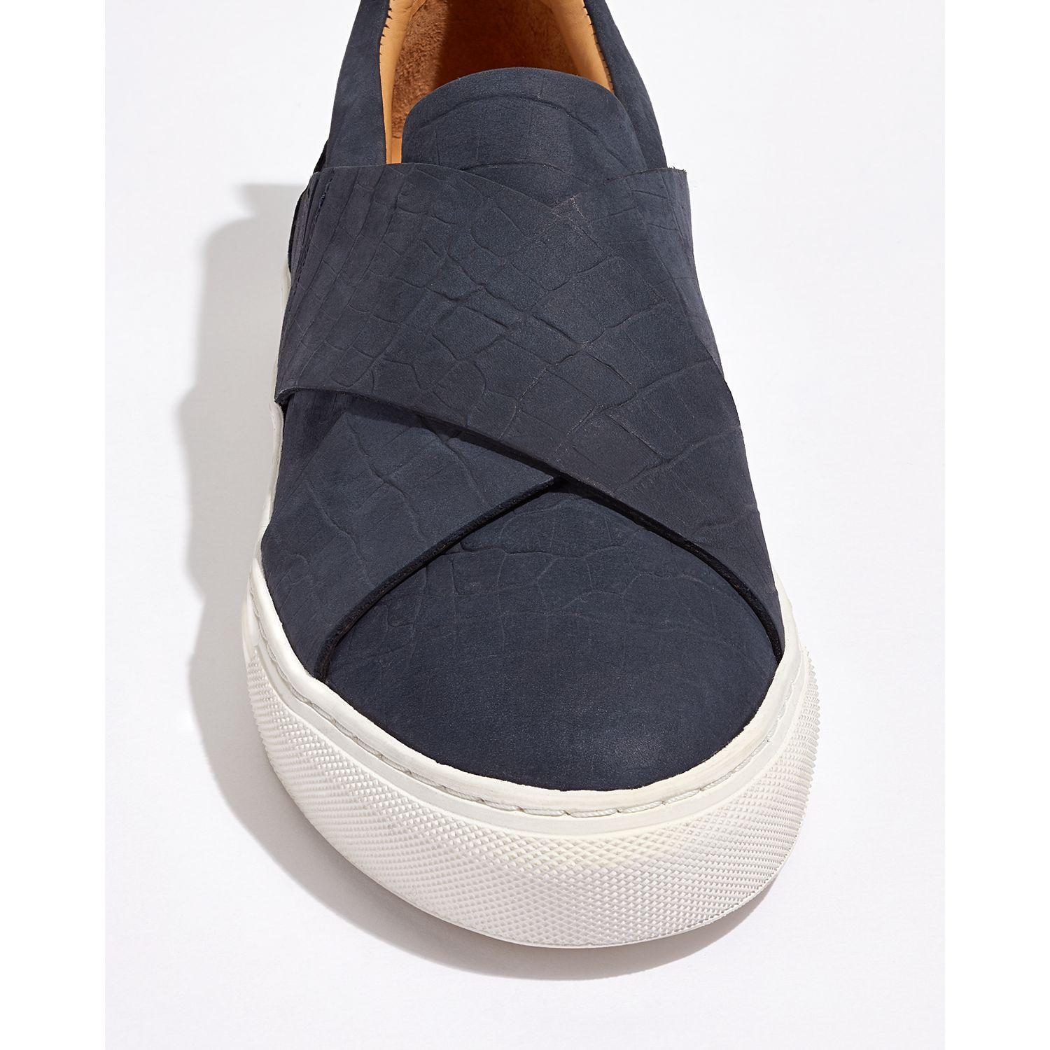 Jigsaw Leather Olivia Cross Strap Slip On Trainers in Navy Croc (Blue)