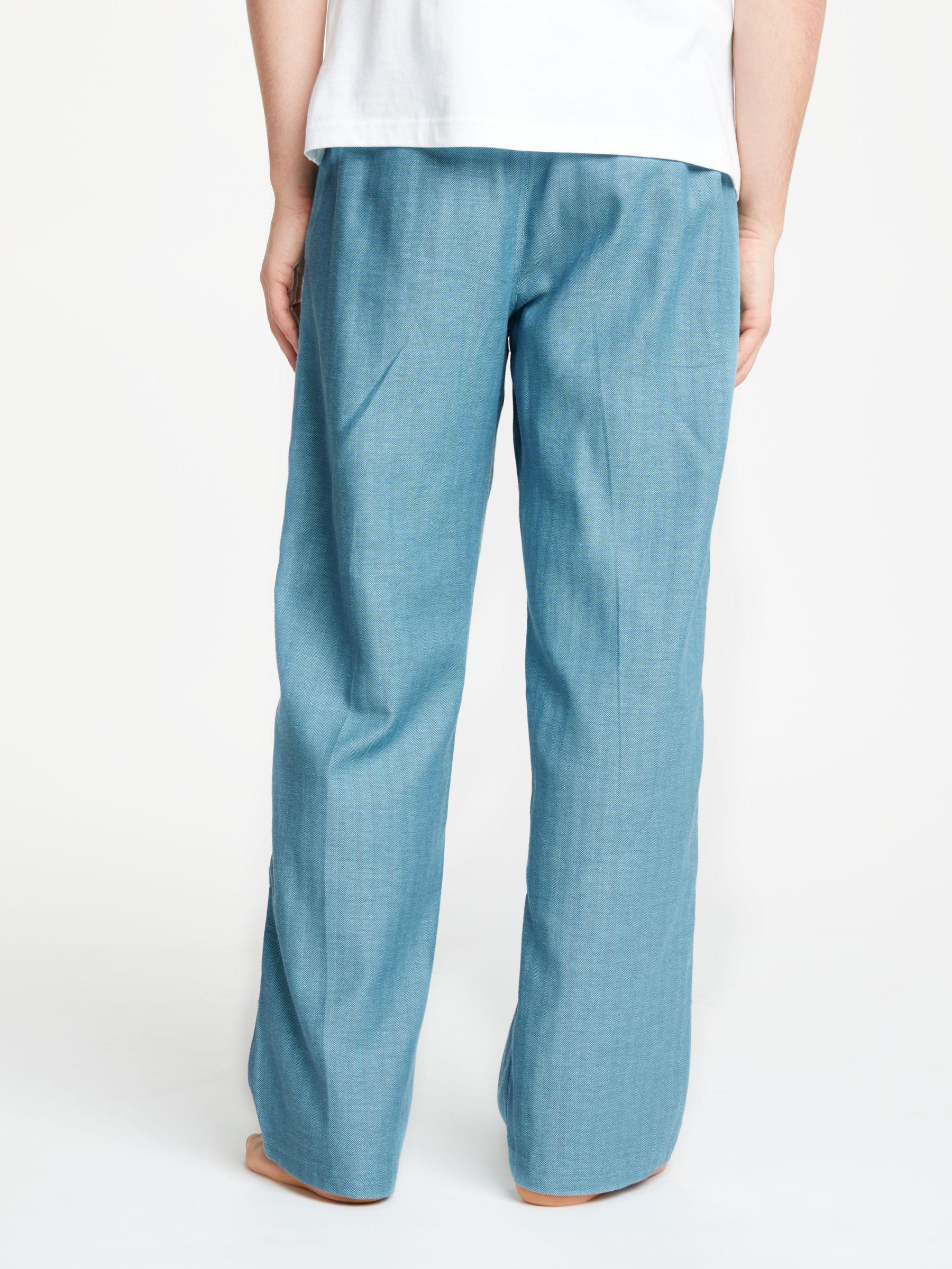 John Lewis Cotton Herringbone Lounge Pants in Blue for Men