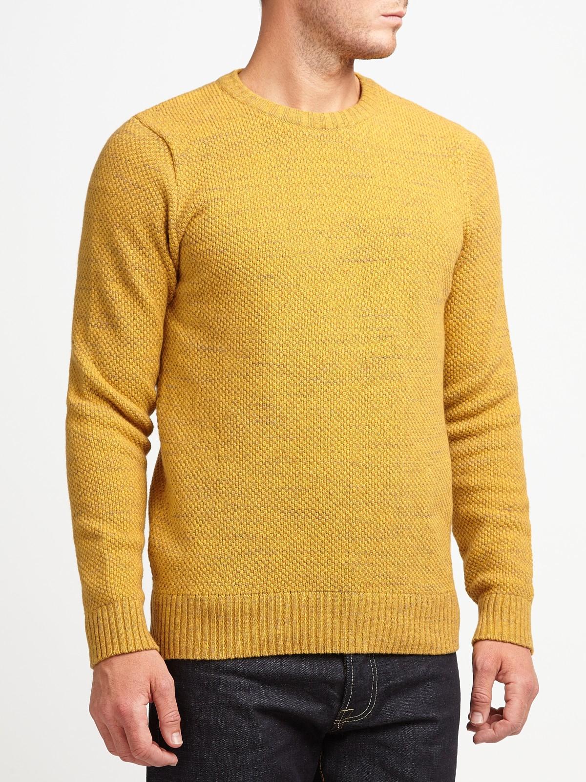 John Lewis Cotton Moss Stitch Crew Neck Jumper in Gold (Metallic) for Men
