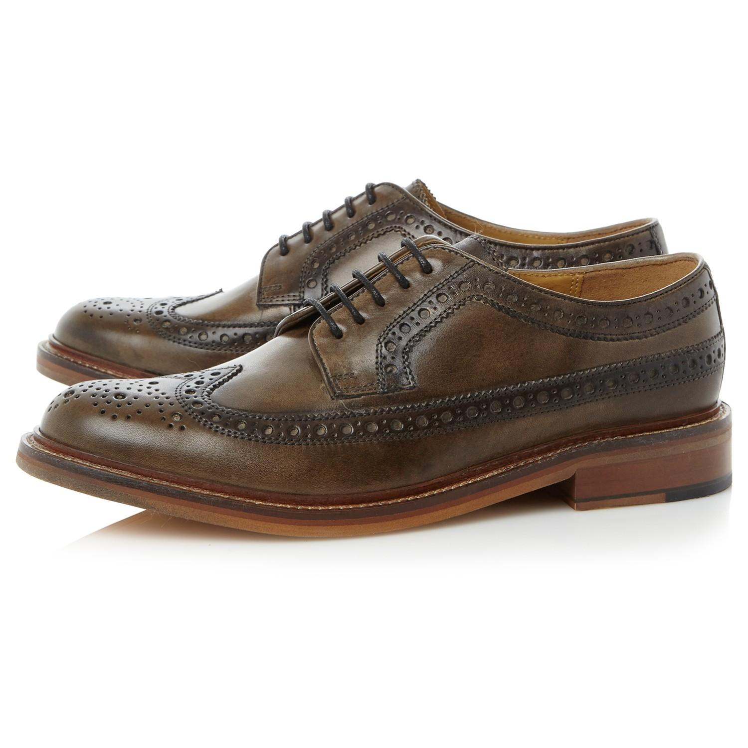 Bertie Leather Pharrell Lace Up Brogue Shoes in Grey (Grey) for Men