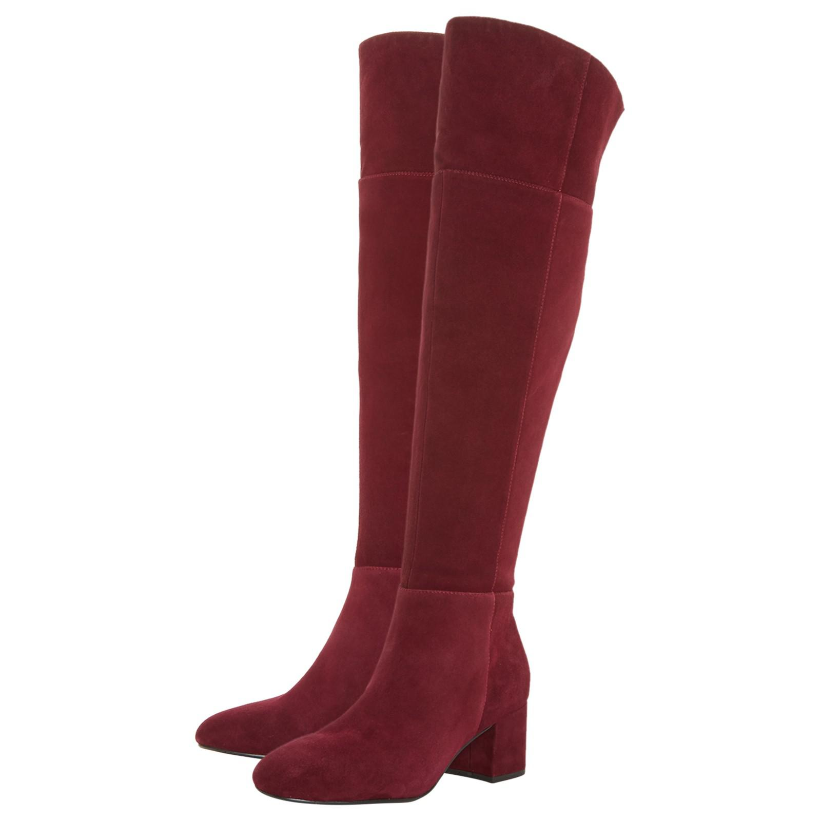 Dune Spears Knee High Suede Heeled Boot in Burgundy (Red)