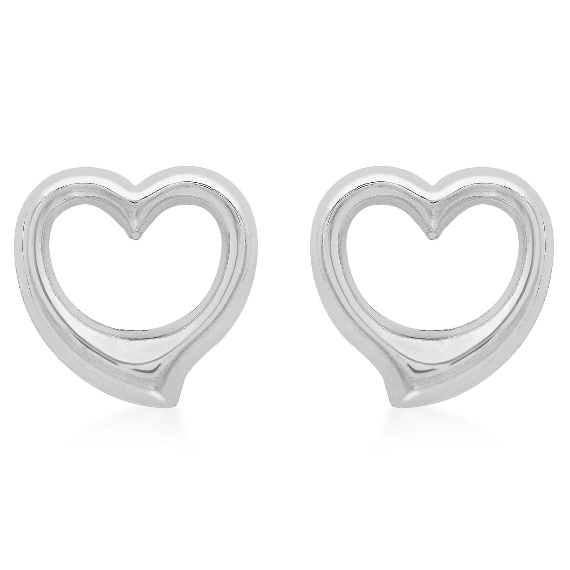 Ib&b 9ct White Gold Heart Necklace And Stud Earrings Set in Metallic