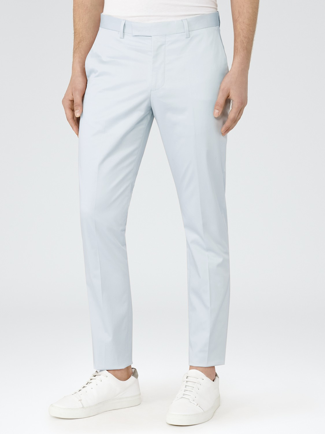 Reiss Cotton Boulevard Twill Slim Fit Trousers in Ice Blue (Blue) for Men