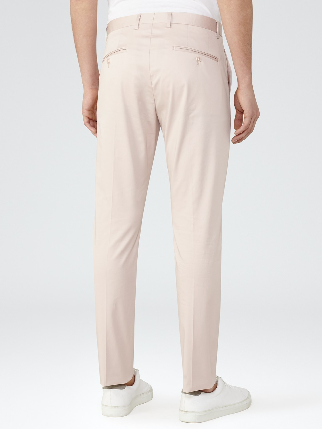 Reiss Cotton Boulevard Twill Slim Fit Trousers in Salmon (Pink) for Men