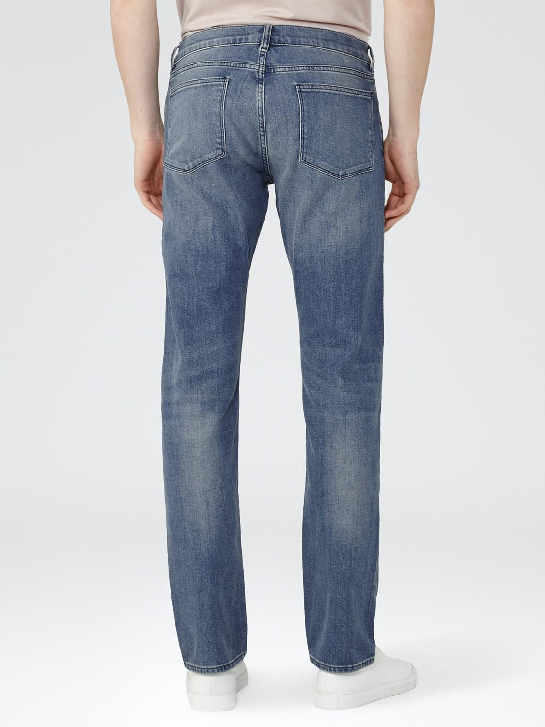 Reiss Denim Watergate Washed Slim Fit Stretch Jeans in Mid Blue (Blue) for Men