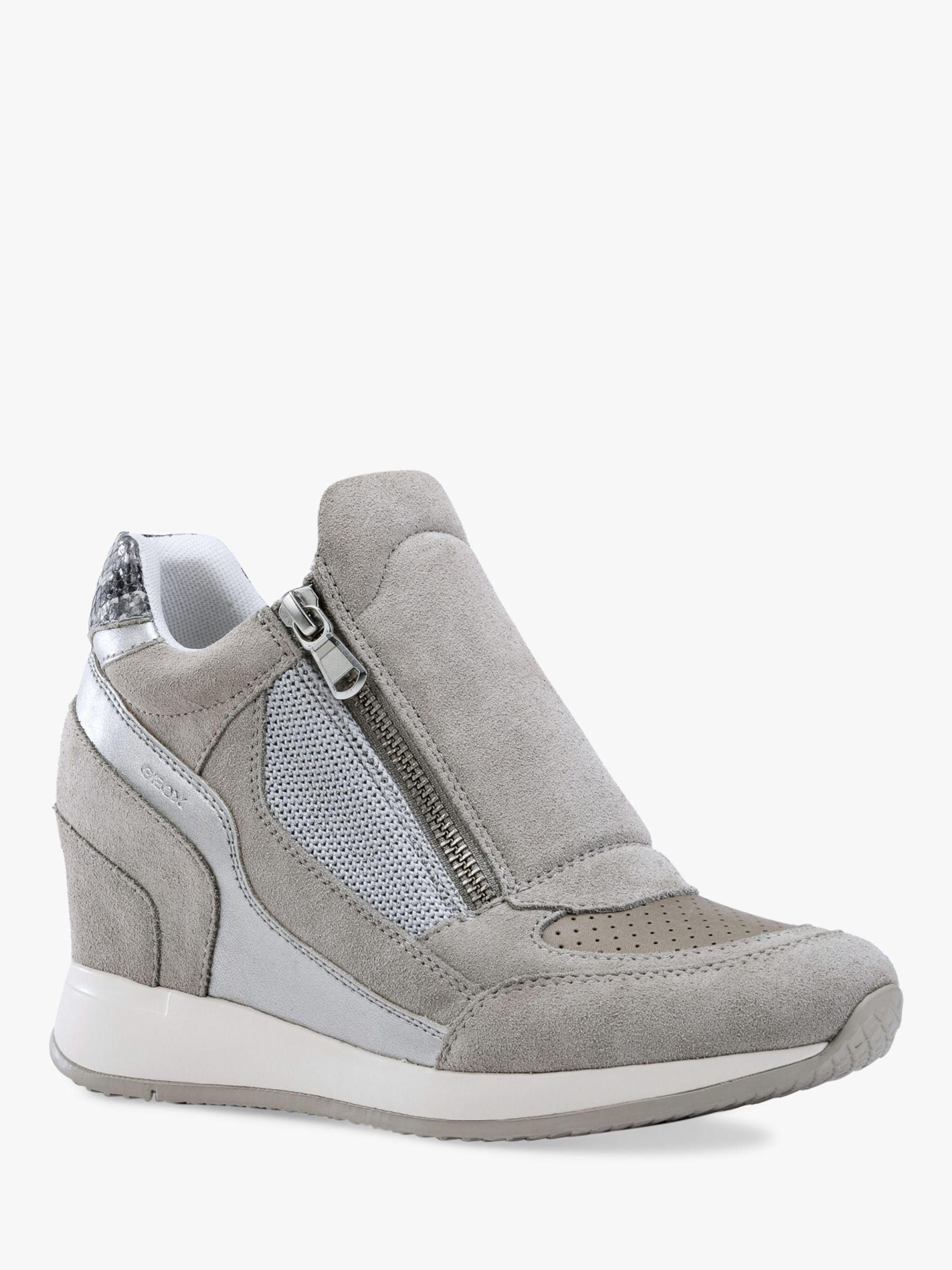76b2a9aea2b Geox Women s Nydame Wedge Heel Zip Up Trainers in Gray - Lyst