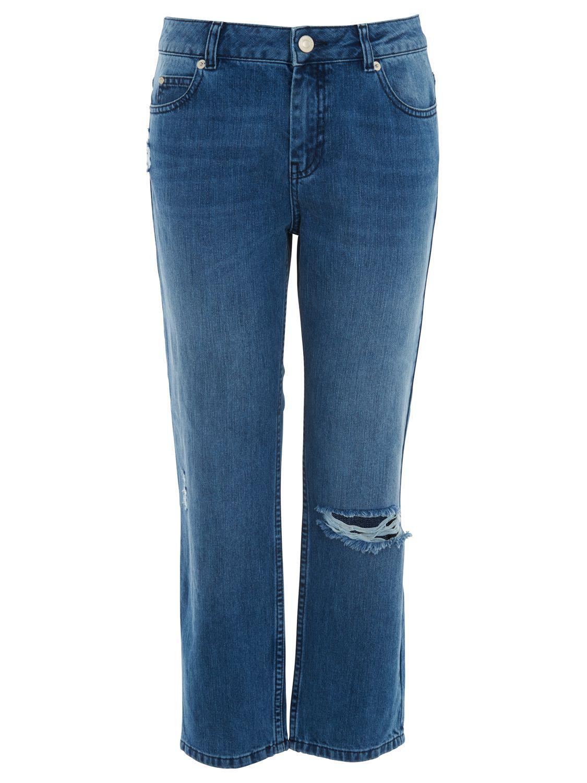 Whistles Denim Distressed Straight Jeans in Dark Denim (Blue)