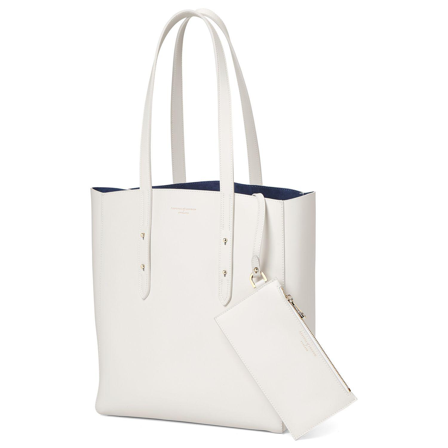Aspinal of London Leather Essential Tote Bag in Ivory (White)