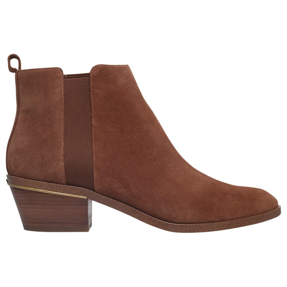 MICHAEL Michael Kors Denim Crosby Block Heeled Ankle Boots in Camel Suede (Brown)