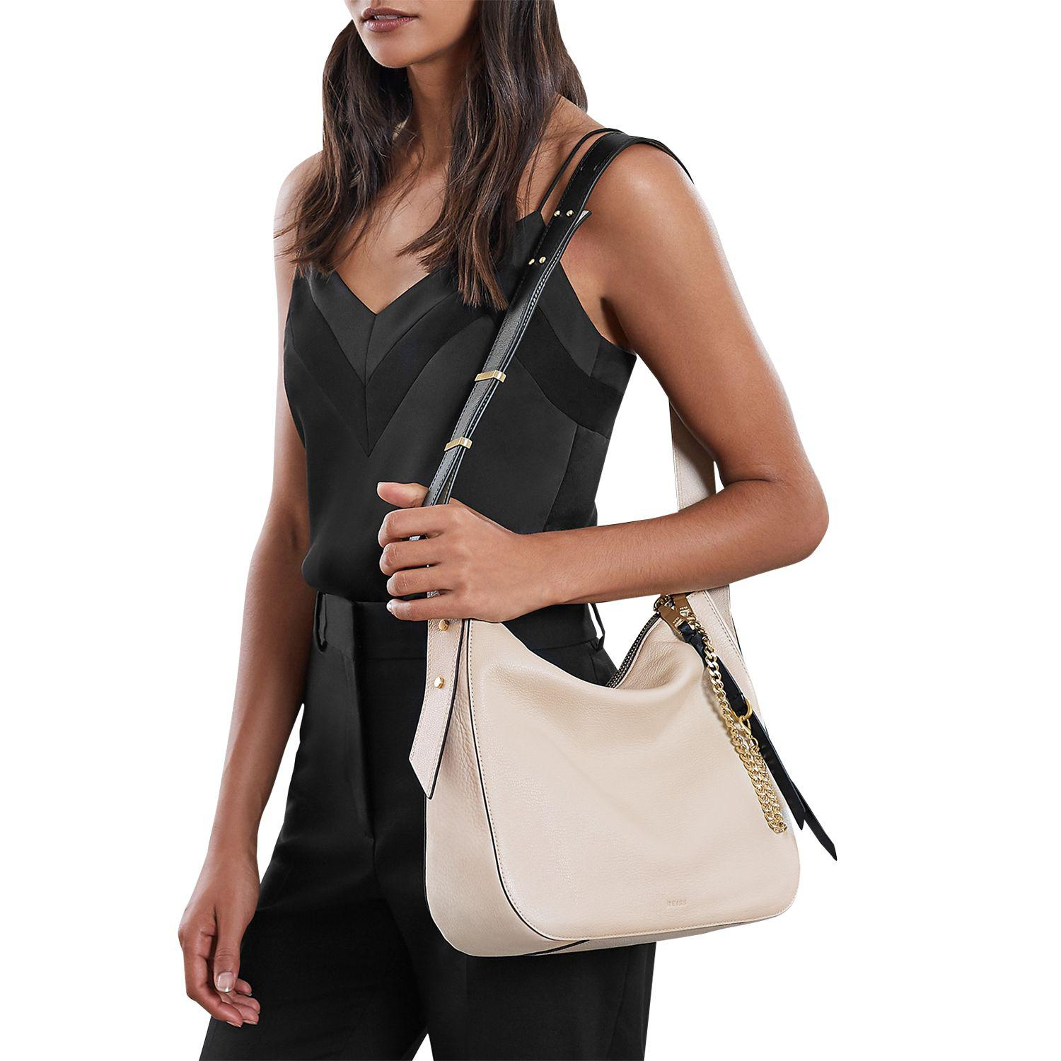 248b074644 Reiss Willow Leather Relaxed Shoulder Bag in White - Lyst