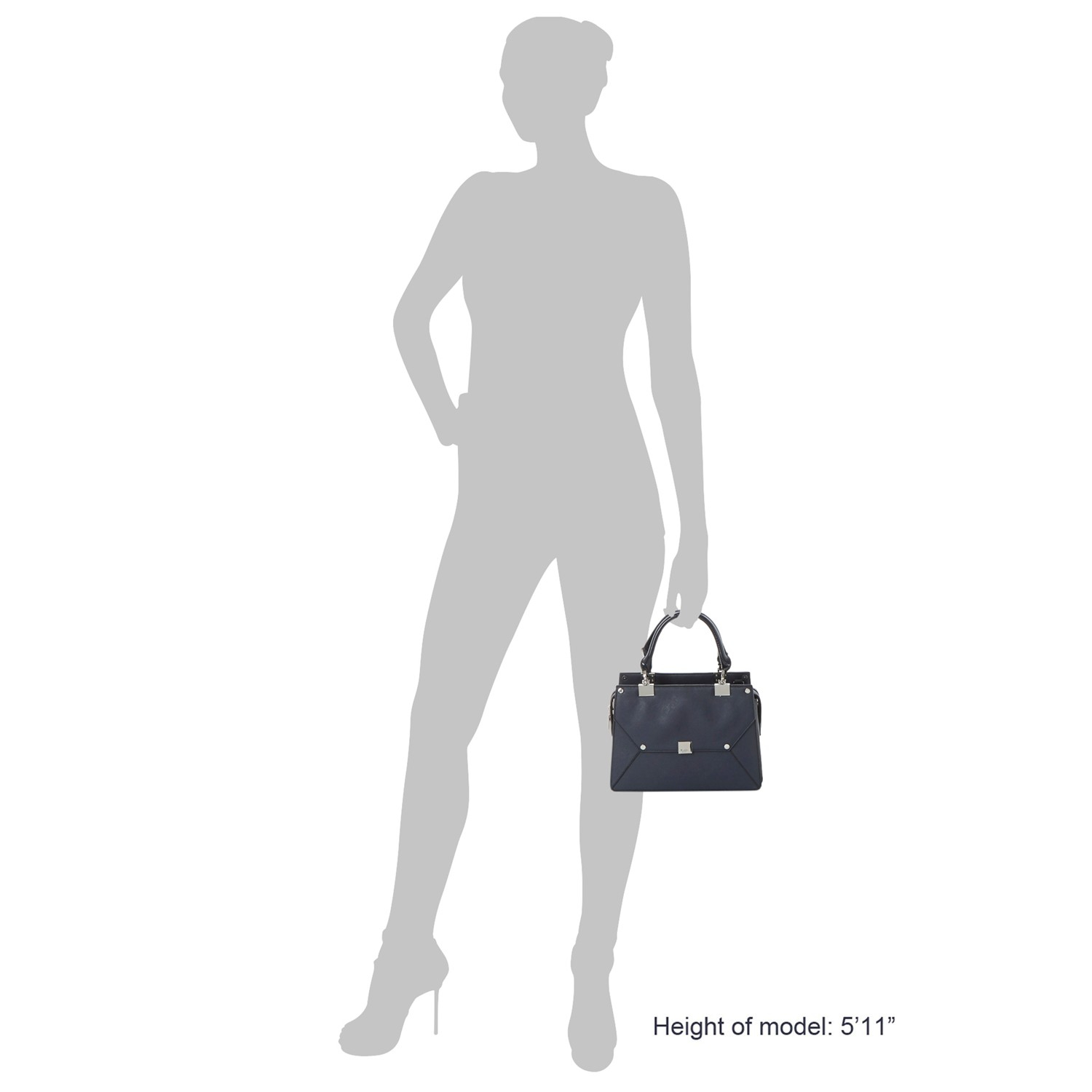 Dune Leather Demerelda Multiple Compartment Top Handle Tote Bag in Navy (Blue)