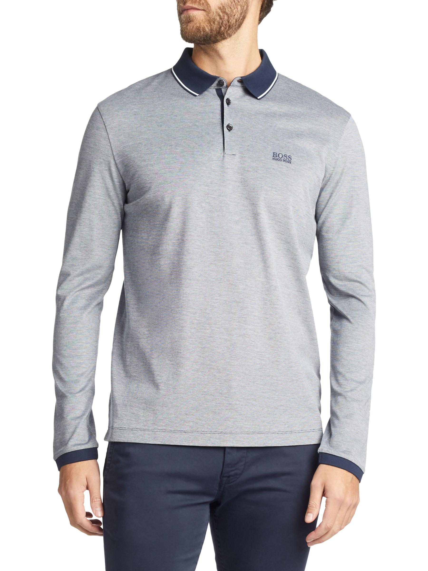 e2badc93 BOSS Boss Pearl Long Sleeve Polo Shirt in Blue for Men - Lyst