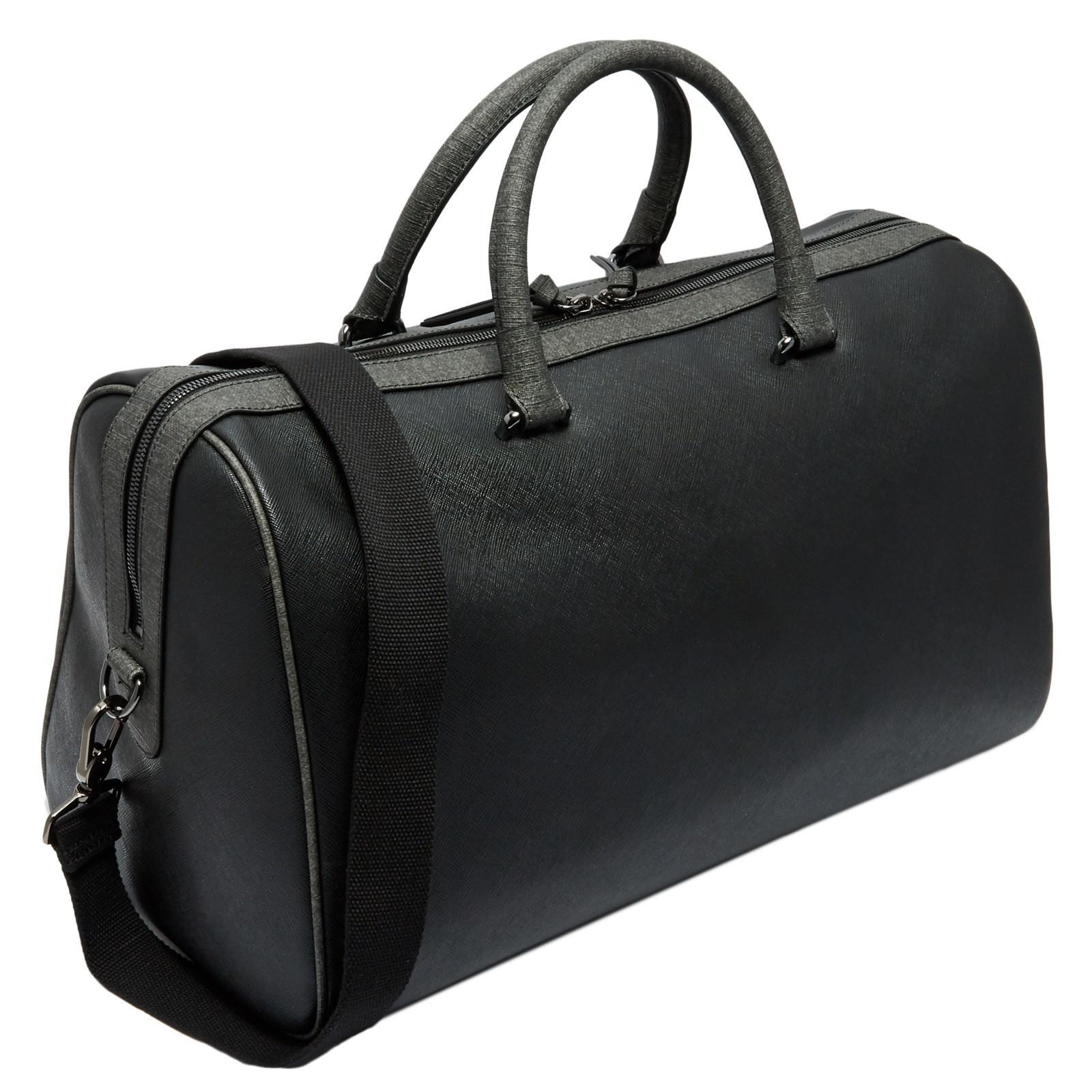 Ted Baker Leather Claws Cross-grain Holdall in Black for Men