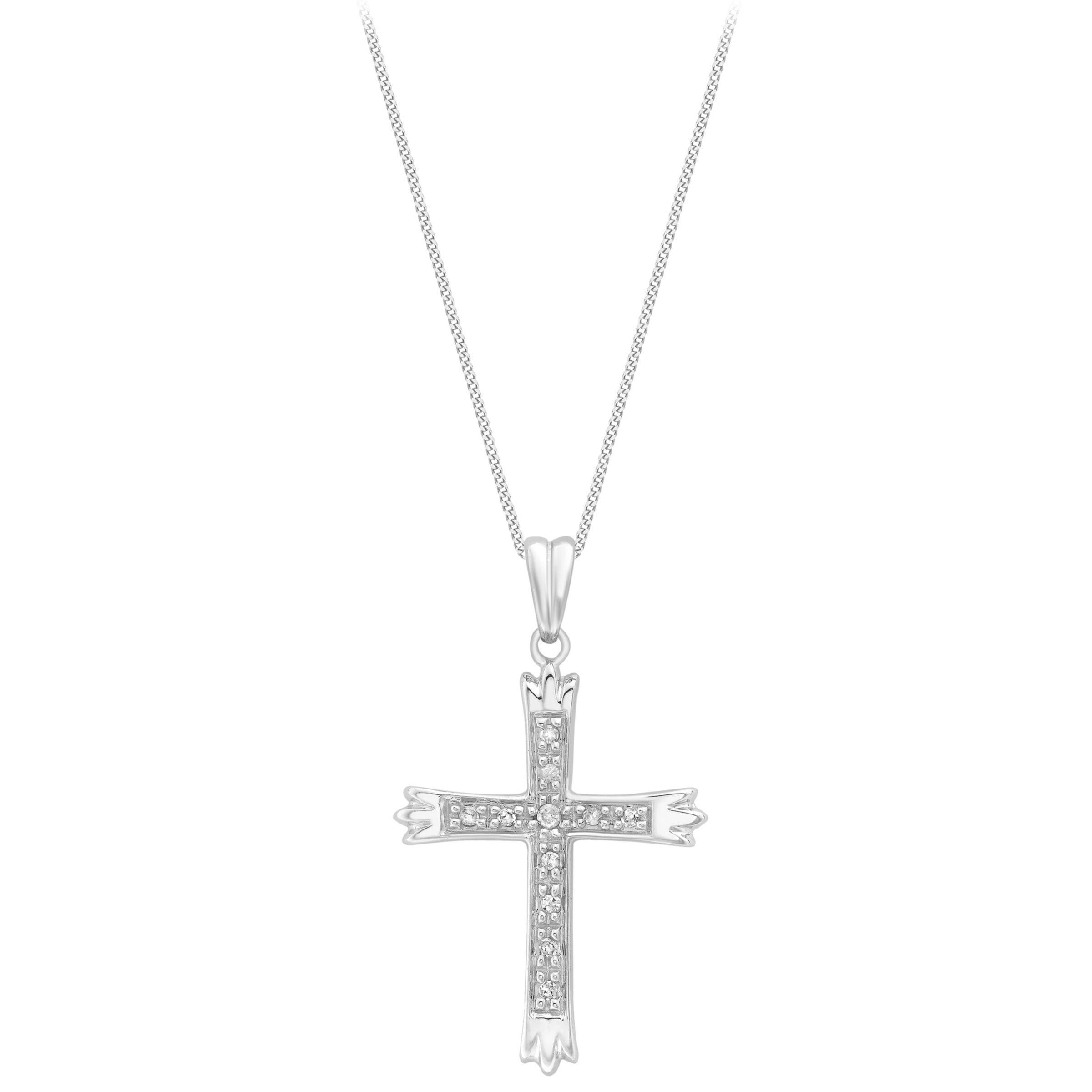 Ib&b 9ct White Gold Cubic Zirconia Cross Pendant in Metallic