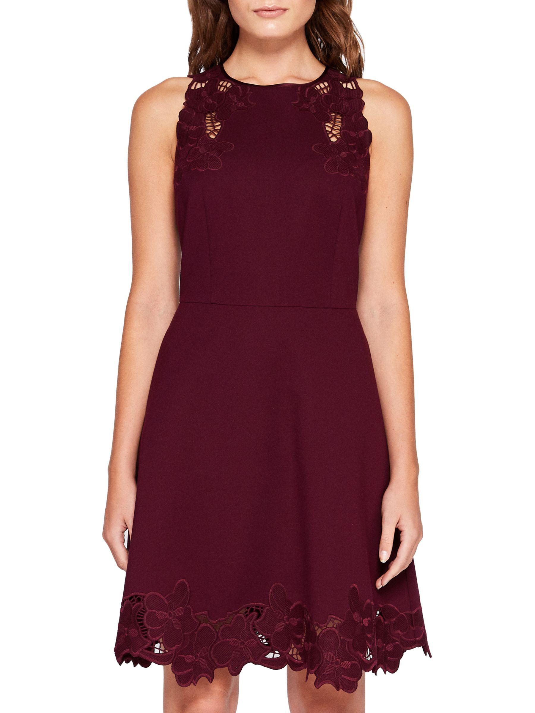 222d5a8a27 Ted Baker Emmona Embroidered Skater Dress in Purple - Lyst