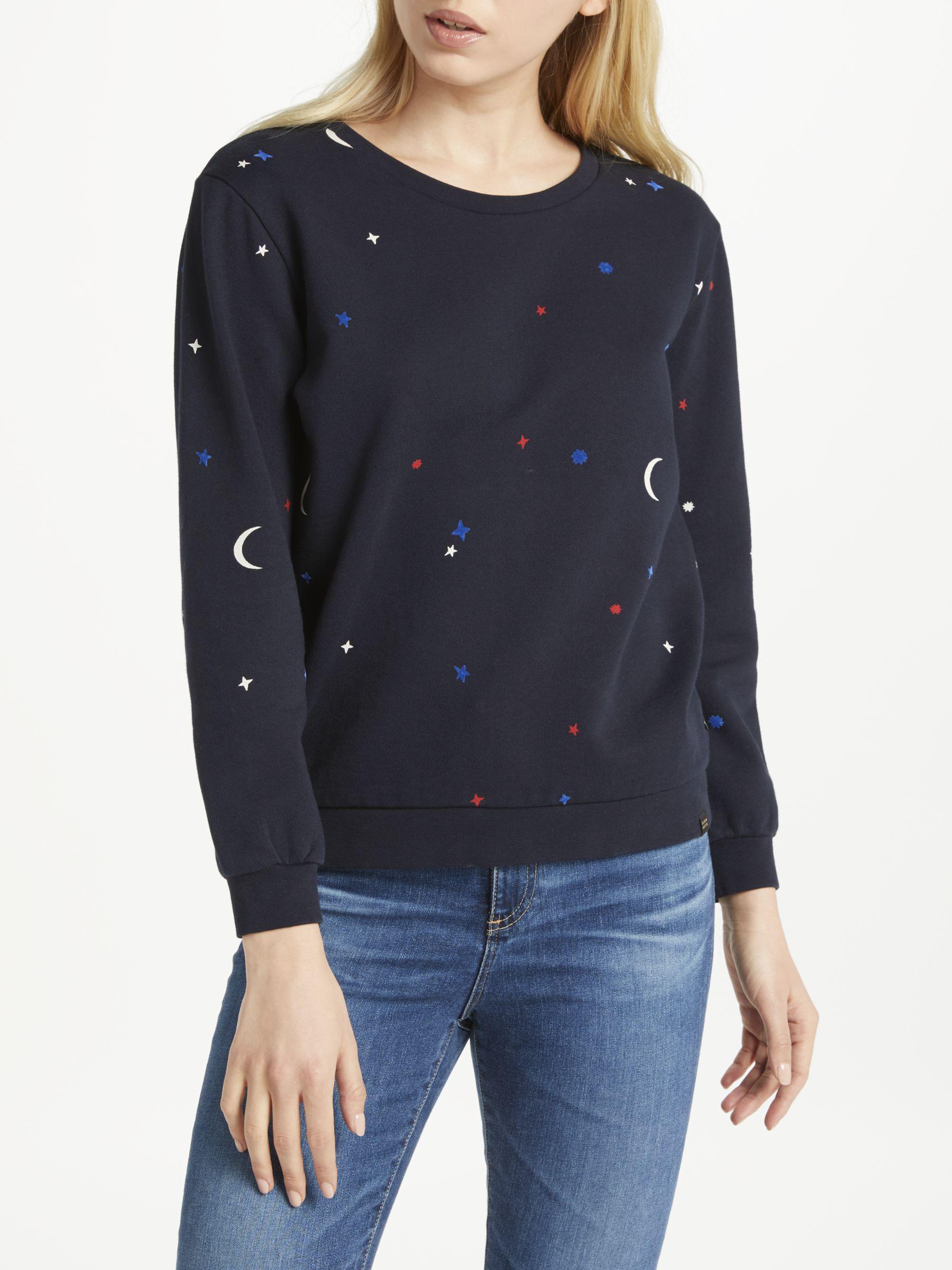 Maison Scotch Star Moon Print Sweater in Blue - Lyst 1e81cef5497e