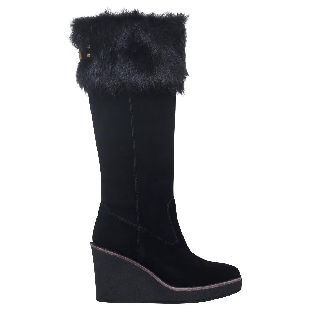 0876528a770 UGG Valberg Wedge Heeled Knee High Boots in Black - Lyst