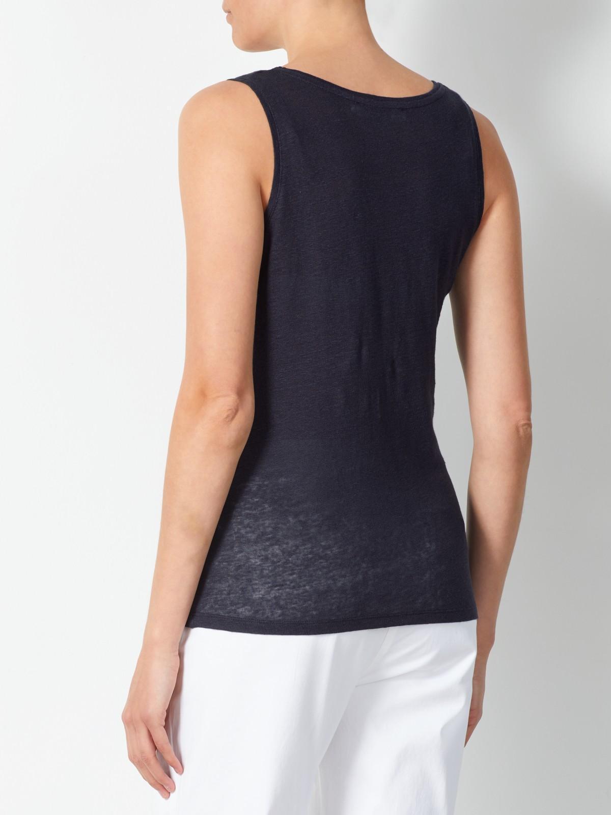 John Lewis Linen Jersey Vest in Navy (Blue)