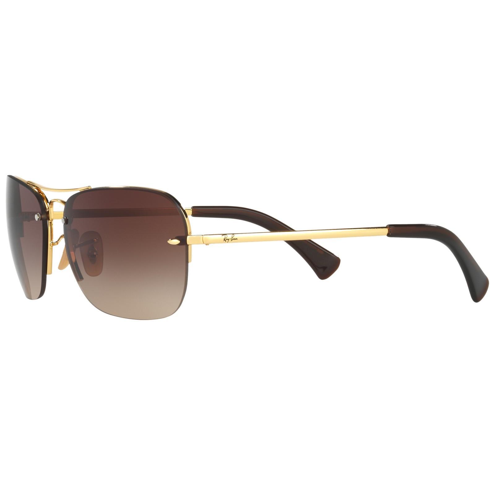 Ray-Ban Rb3541 Rectangular Gradient Sunglasses in Brown (Metallic)