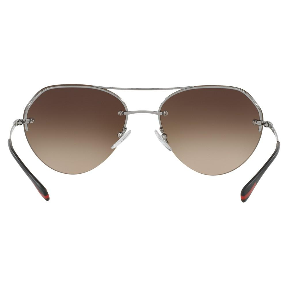 Prada Ps 57rs Oval Sunglasses in Silver/Brown (Brown)