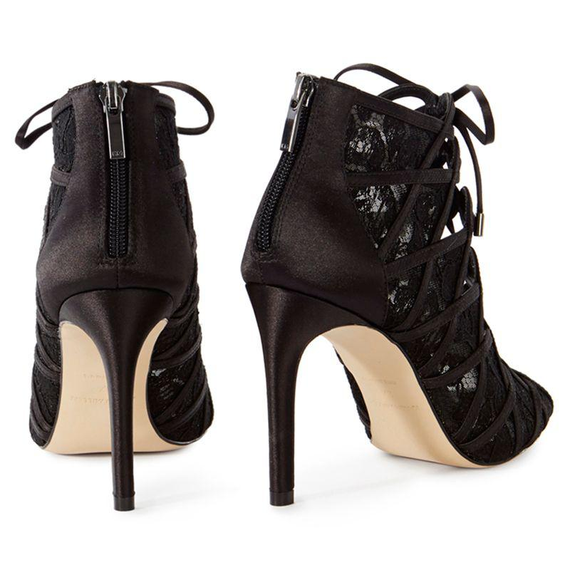 John Lewis Karen Millen Satin And Lace Stiletto Heeled Shoe Boots in Black