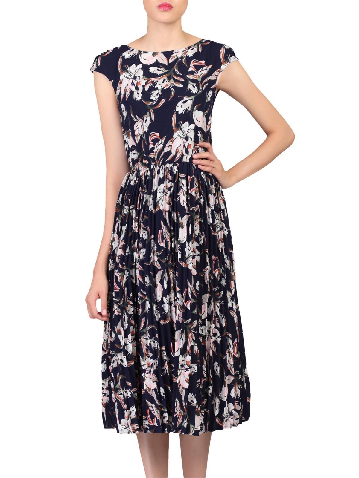 Jolie Moi Satin Floral Print Pleated Tea Dress in Blue