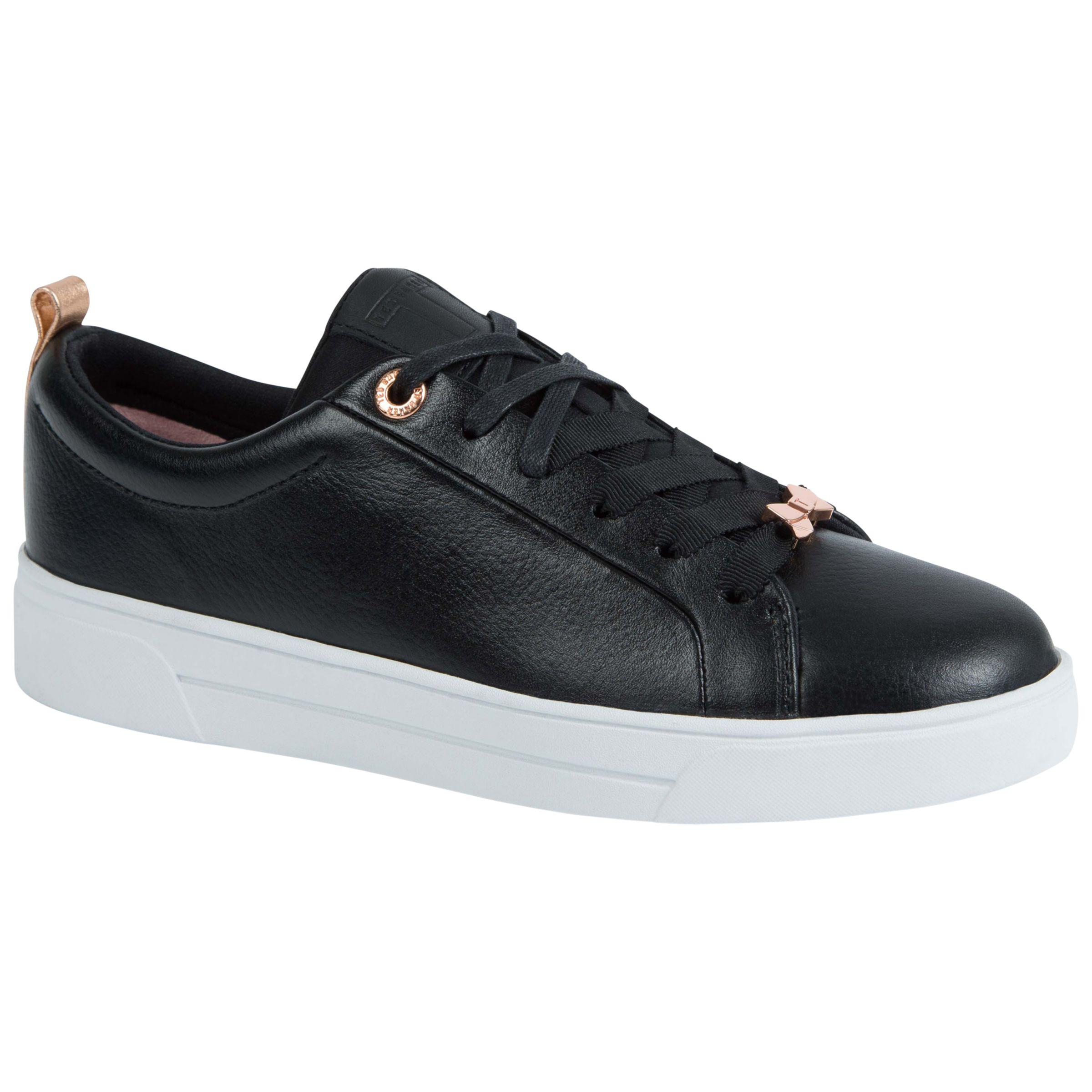 Ted Baker Leather Gielli Lace Up Trainers in Black