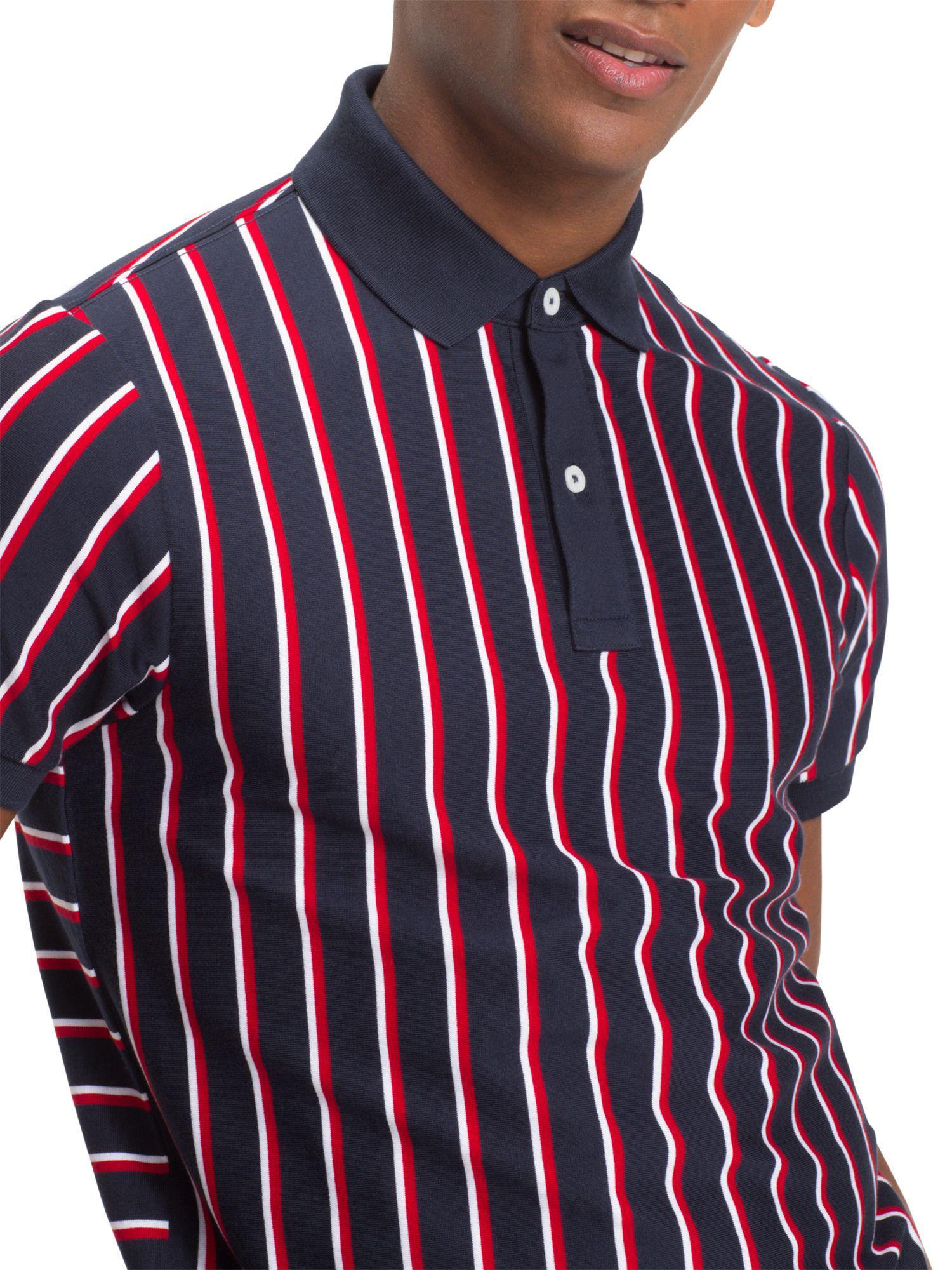 6f897815 Tommy Hilfiger Vertical Stripe Slim Polo in Blue for Men - Lyst