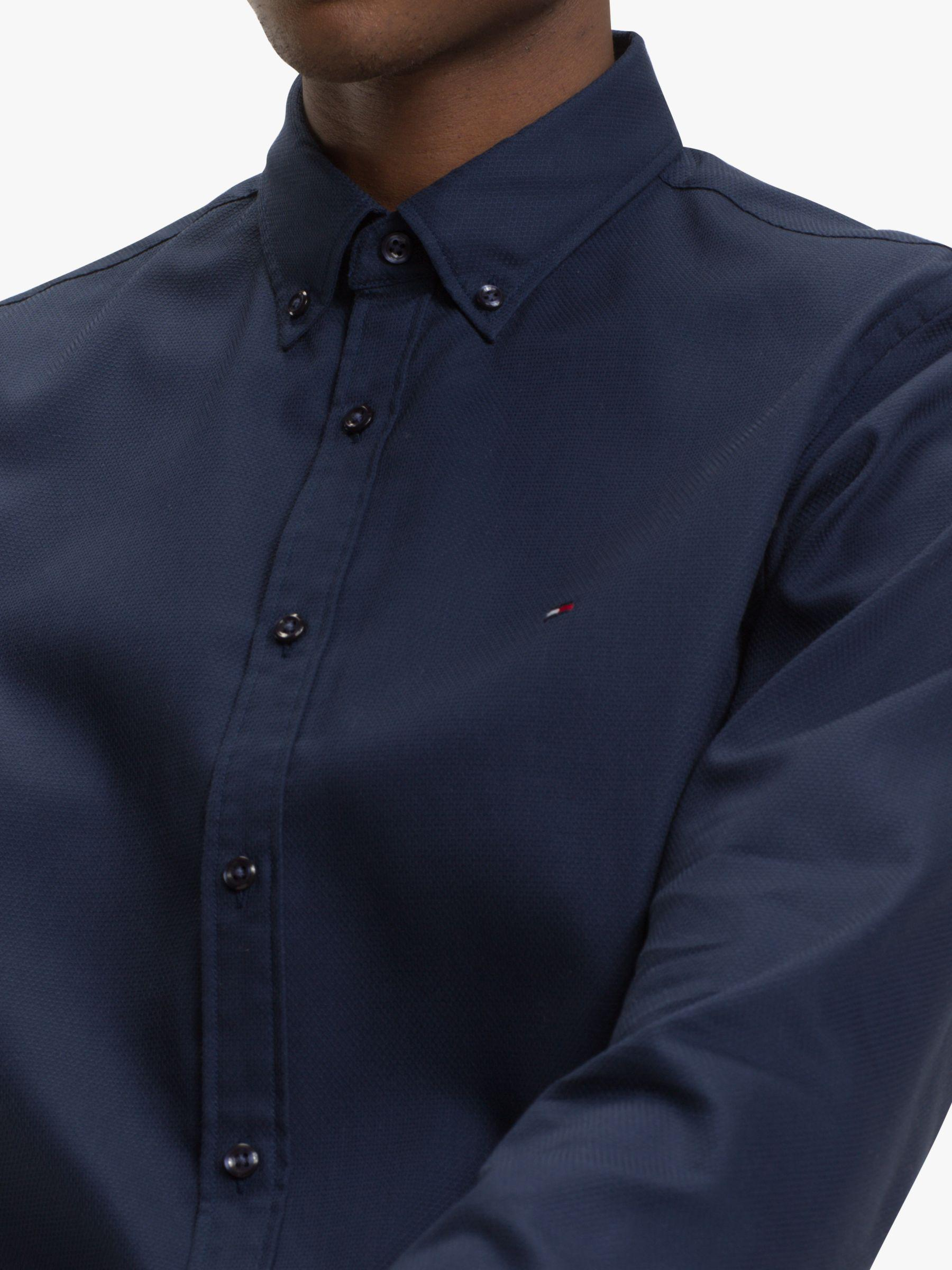 4d6334685dbd Tommy Hilfiger Slim Fit Cellular Dobby Shirt in Blue for Men - Lyst
