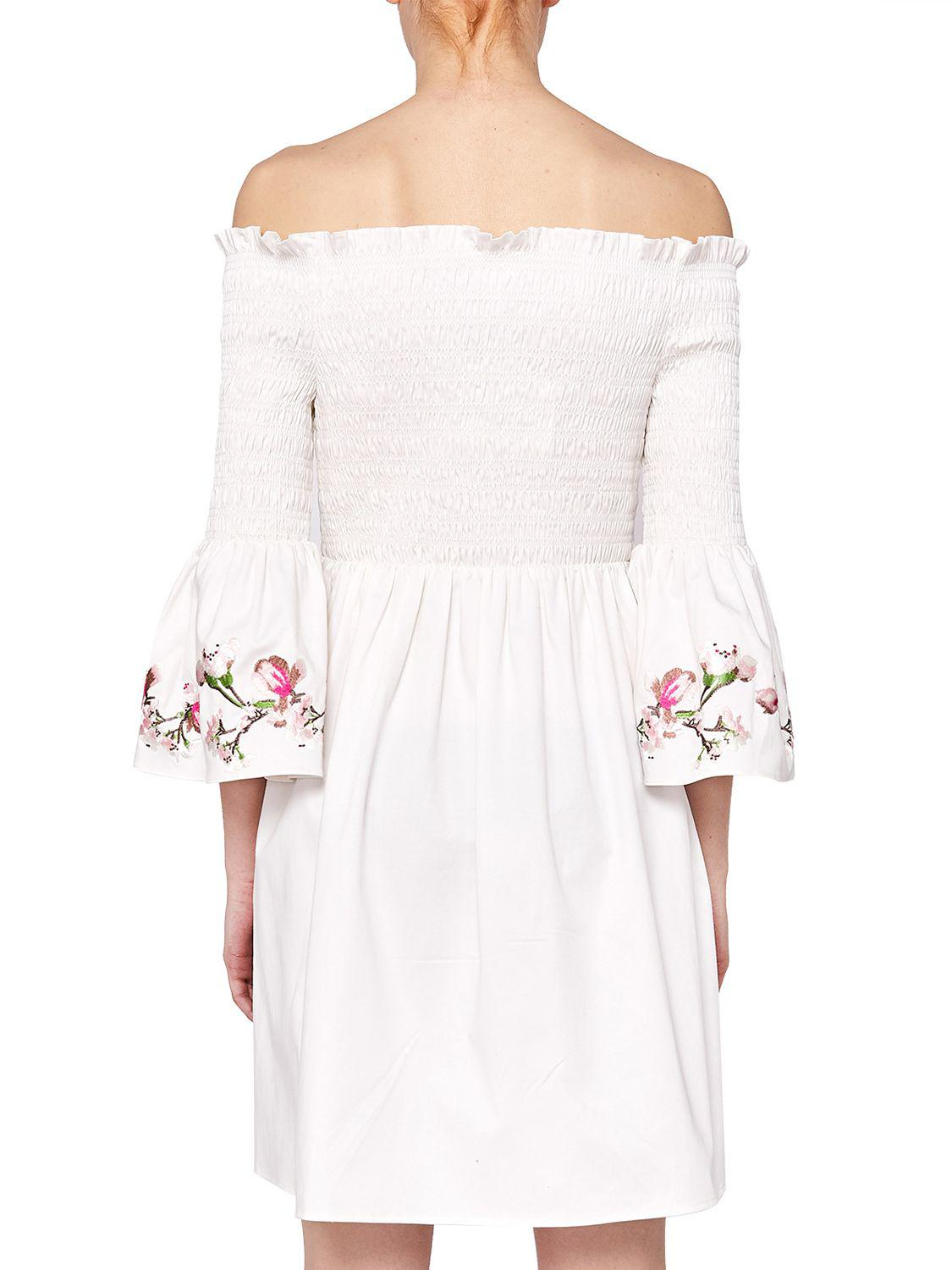 Ted Baker Floral Embroidered Smock Dress In White Lyst