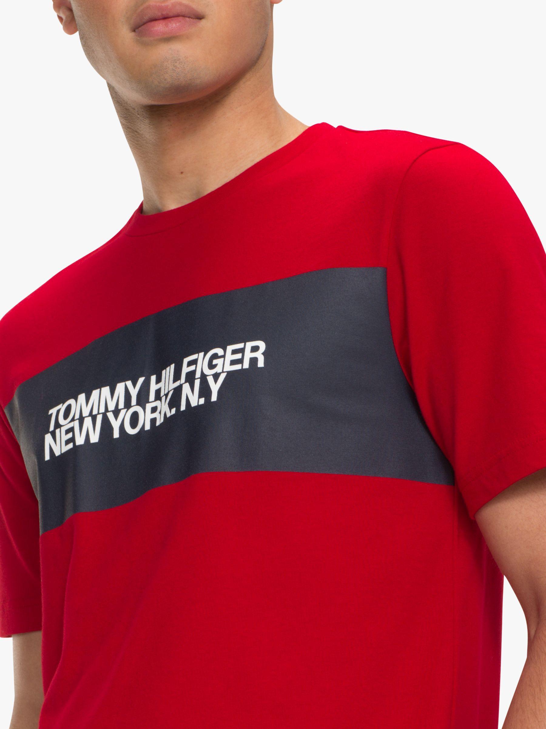 3ba7dfb9 Tommy Hilfiger - Red Big Scale Logo T-shirt for Men - Lyst. View fullscreen