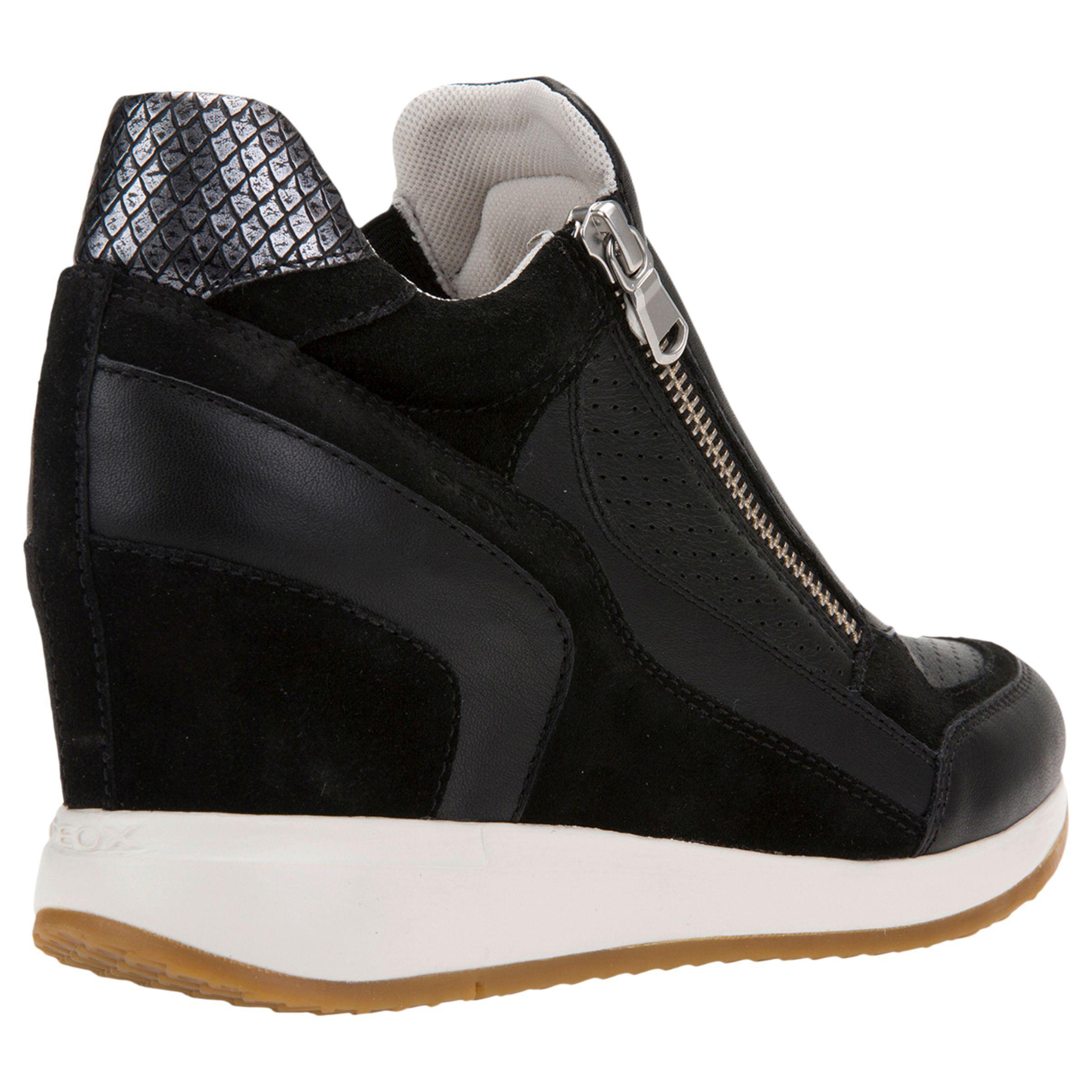 Geox Denim Nydame Wedge Heel Zip Up Trainers in Black