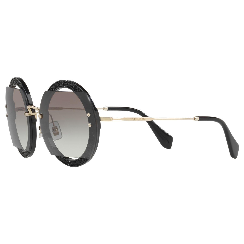 Miu Miu Round Cutout Glitter Sunglasses in Black