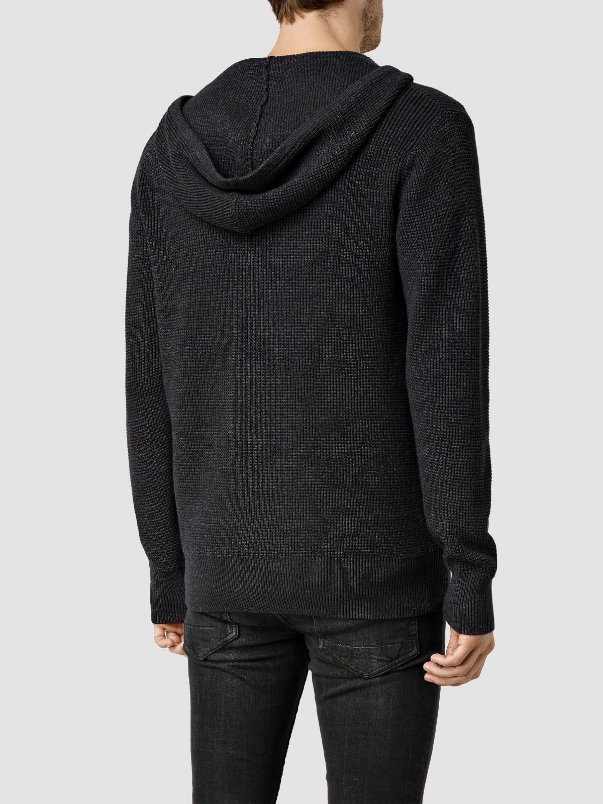 AllSaints Cotton Trias Hoody in Cinder (Black) for Men