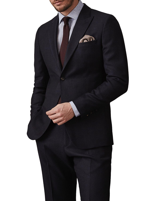 John Lewis Reiss Mason Wool Check Modern Fit Suit Jacket in Navy (Blue) for Men