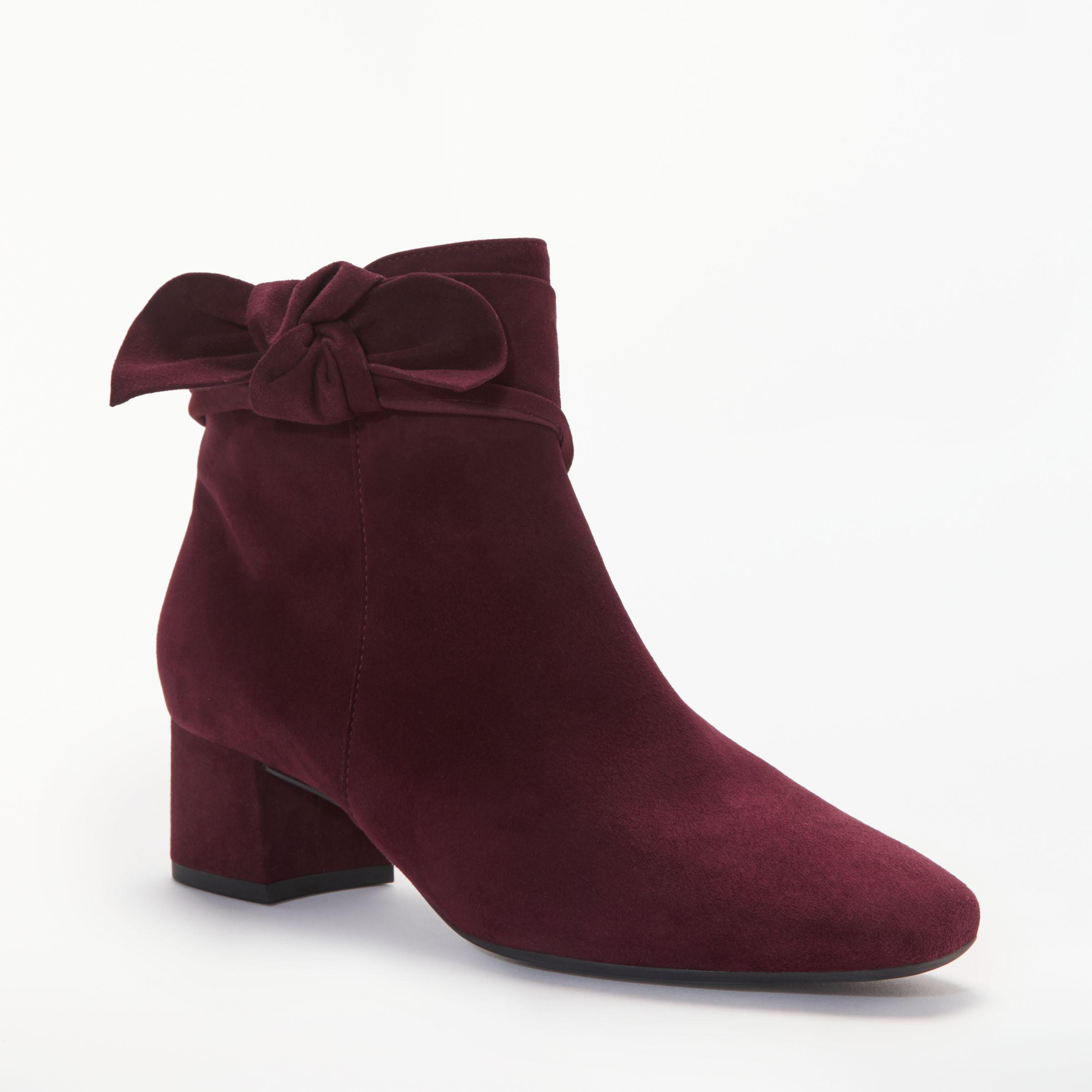 cc643402386 Peter Kaiser Tamina Bow Tie Block Heeled Ankle Boots in Red - Lyst