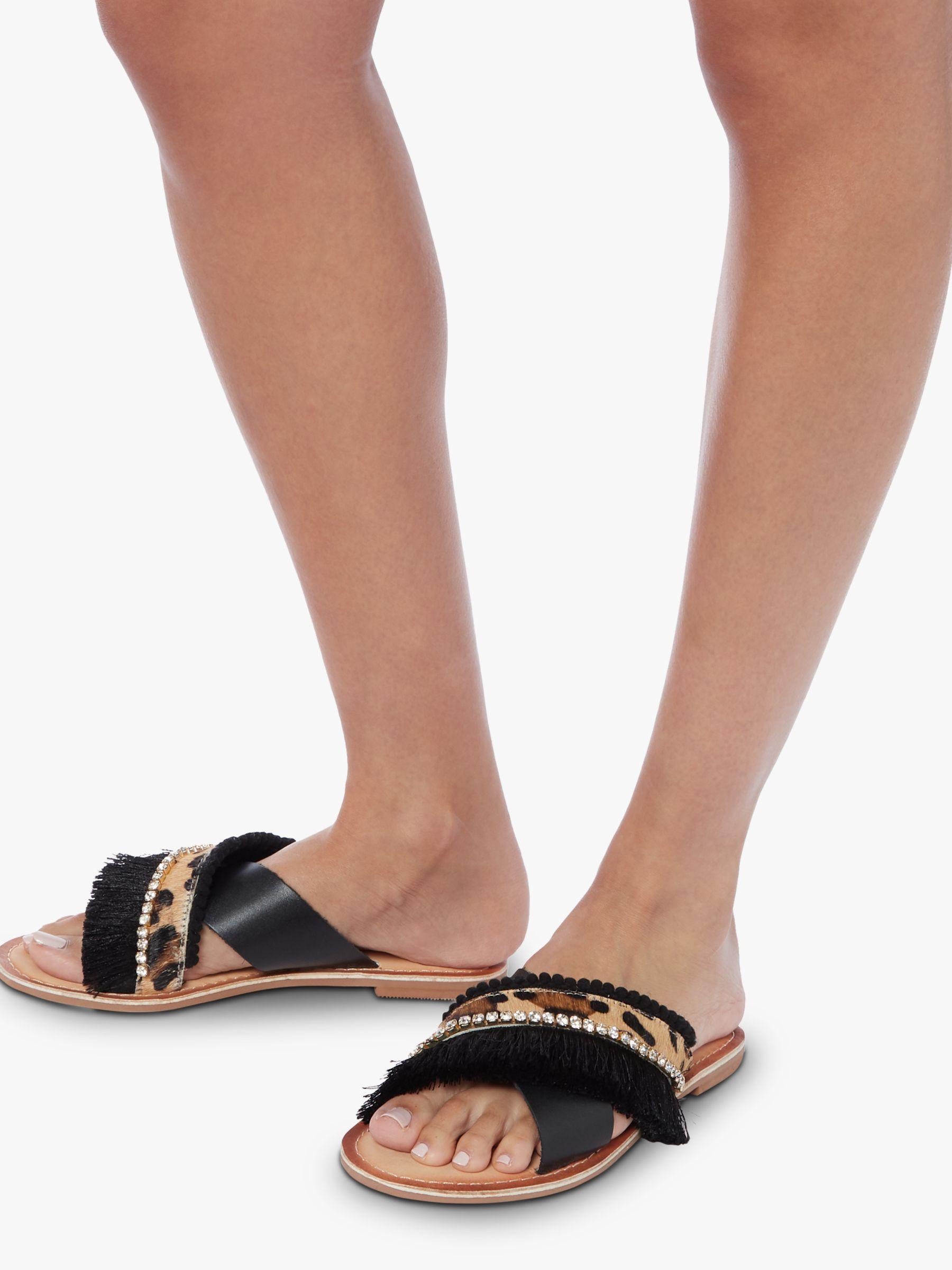 00c0249d90f Dune Lumos Fringe Detail Slider Sandals in Black - Lyst
