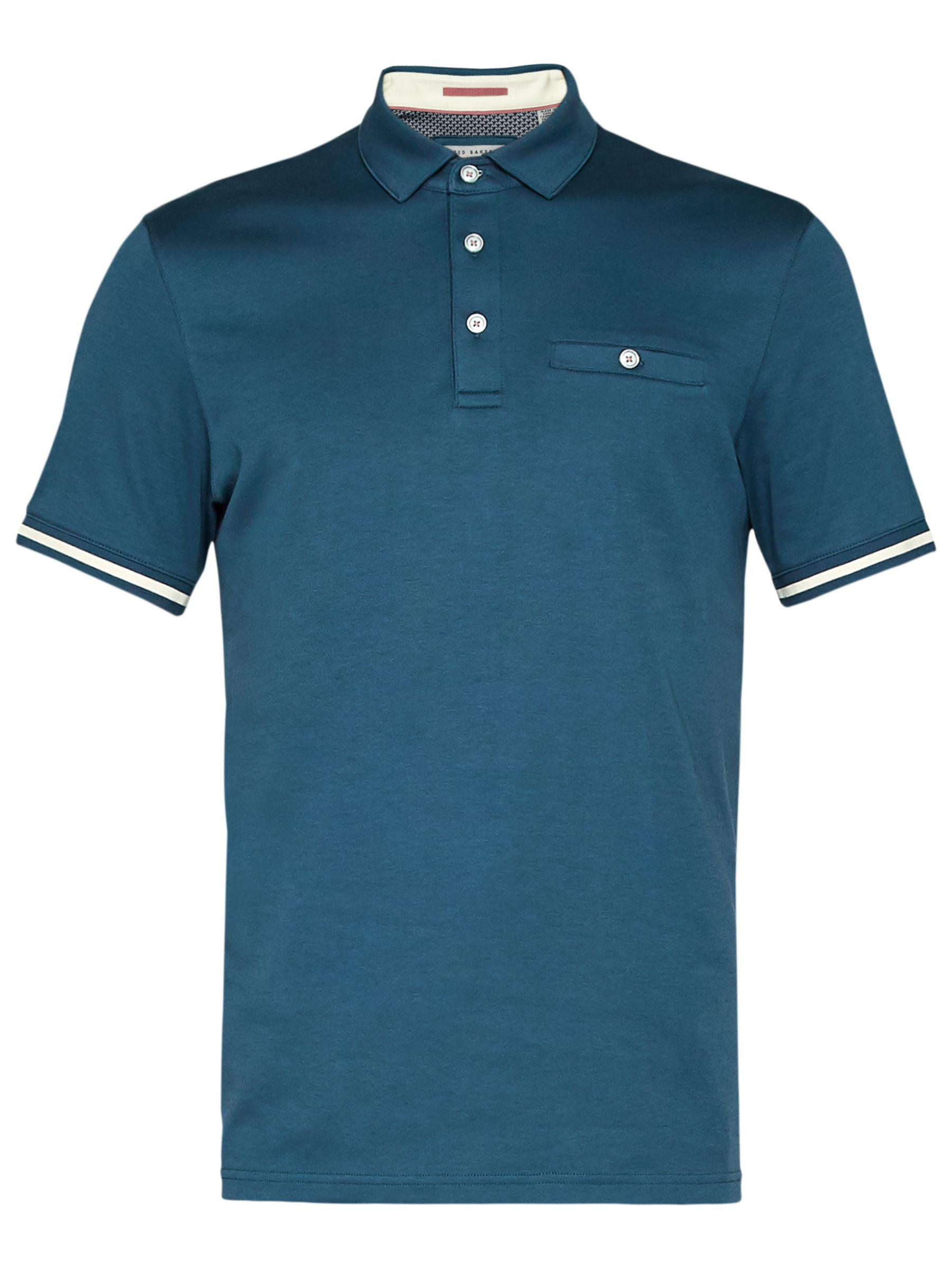 Ted Baker Cotton Puggle Cuff Stripe Polo Shirt in Blue for Men