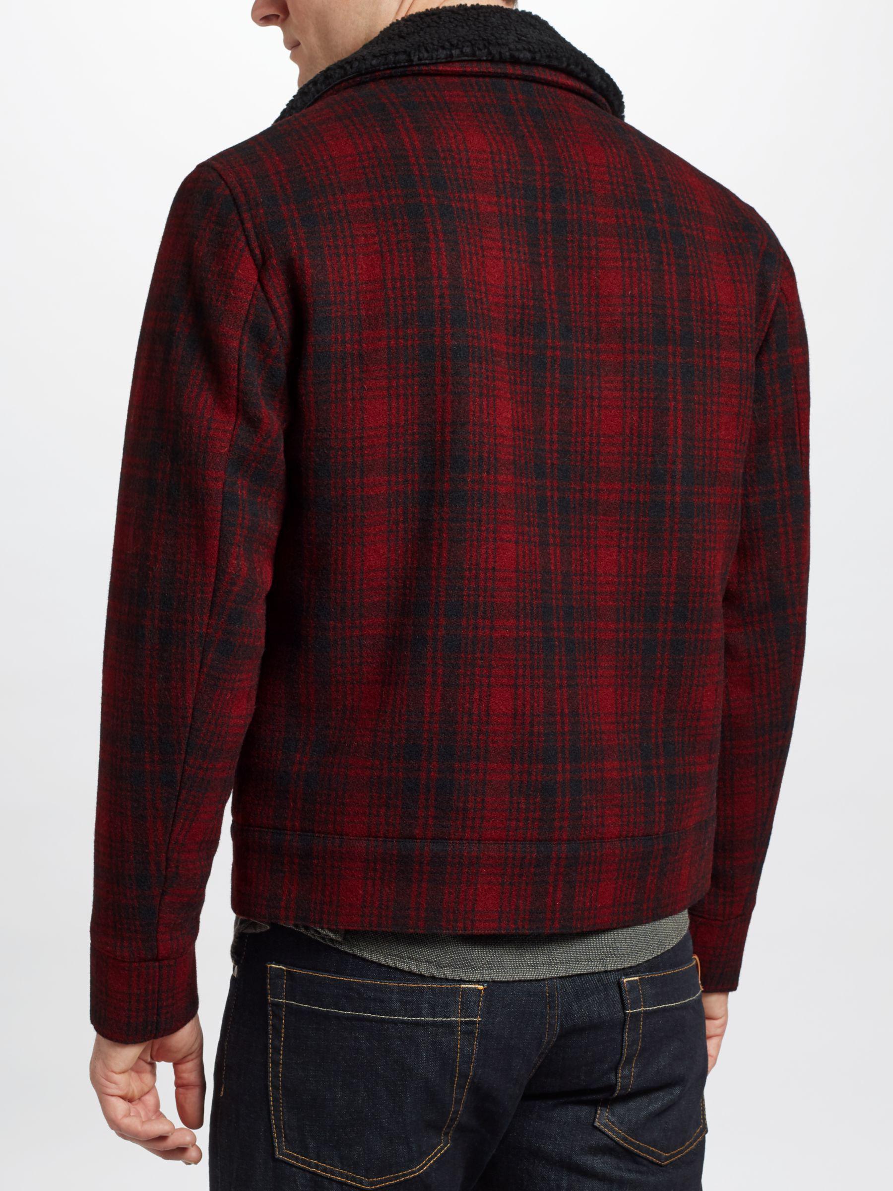 John Lewis Wool Check Lumber Jacket in Red for Men