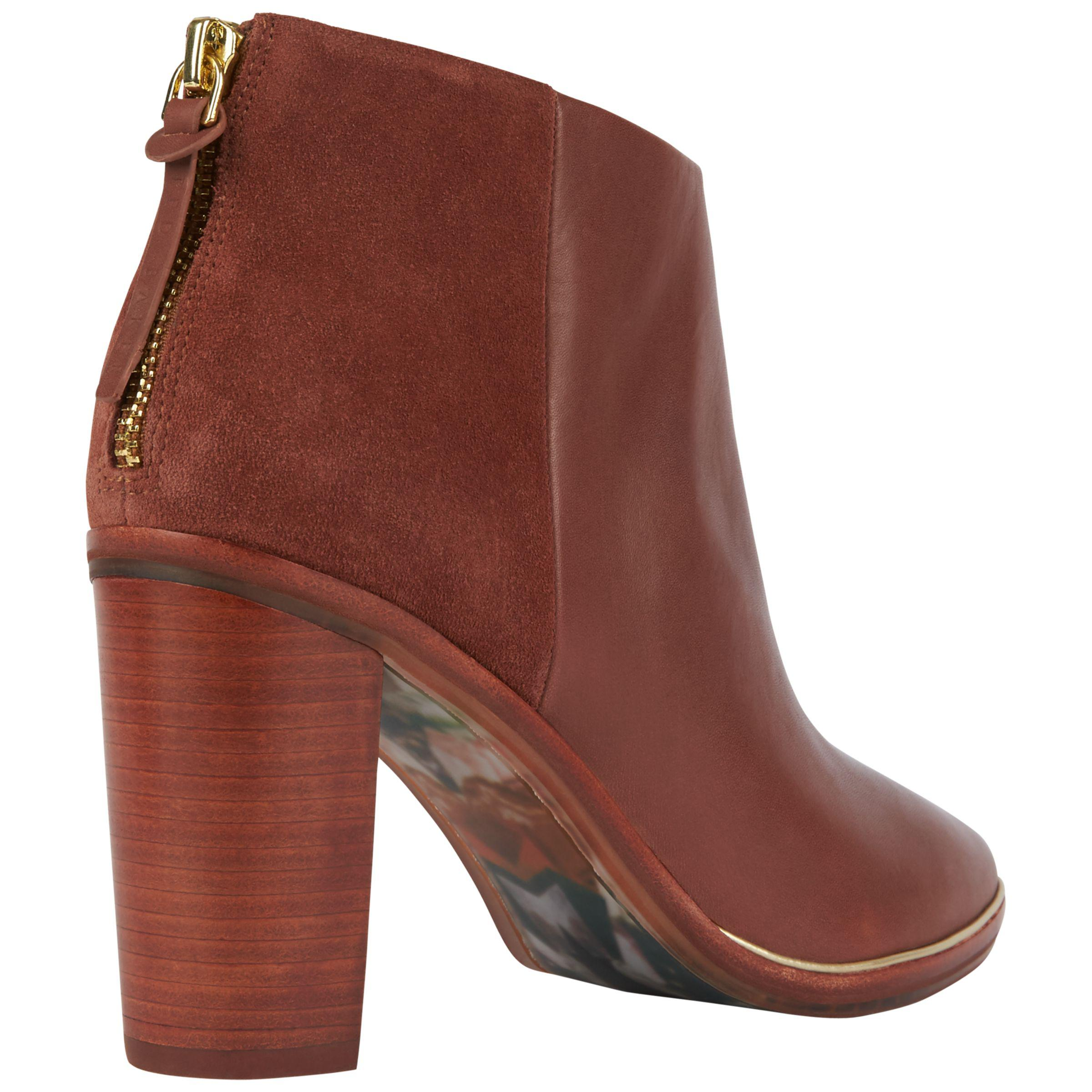 Ted Baker Leather Azaila Block Heeled Ankle Boots in Tan (Brown)