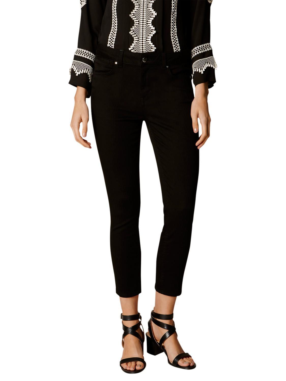 Karen Millen Denim Cropped Skinny Jeans - Black