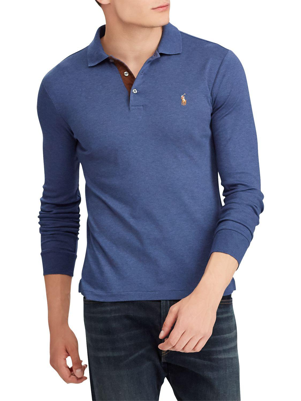 c2d84b4a4 Ralph Lauren Polo Long Sleeve Pima Polo Shirt in Blue for Men - Lyst