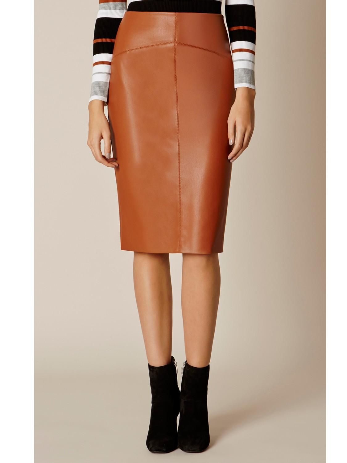 millen faux leather pencil skirt in brown lyst